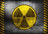 stock photo of nuclear bomb  - Nuclear radiation symbol on grunge wall - JPG