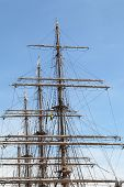 picture of big-rig  - Rigging of big sailing ship against a blue sky - JPG