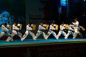 Taekwondo Kicking Breaking Row Wooden Boards