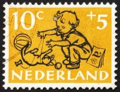 Postage stamp Netherlands 1952 Boy, Chimneys and Steelwork