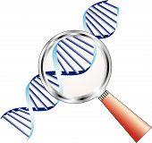 Hélice de ADN sob lupa em foco de atenção, bioquímica