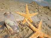 Sea Stars And Bottle In Sand