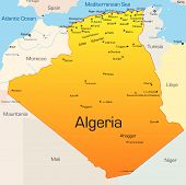 stock photo of algiers  - Abstract vector color map of Algeria country - JPG