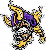Fútbol americano Viking mascota llevaba casco con cuernos Vector Illustration