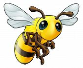 stock photo of bee cartoon  - An illustration of a cartoon cute Bee character - JPG