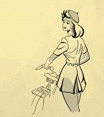 Young woman with bicycle Retro style