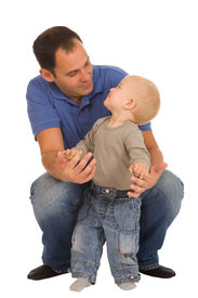 stock photo of father child  - father with son isolated on a white background - JPG
