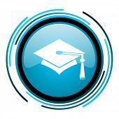 graduation blue circle glossy icon