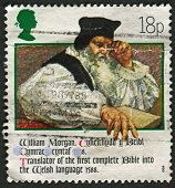 UK - CIRCA 1988: A stamp printed in UK shows image of the Revd William Morgan (Bible translator, 158