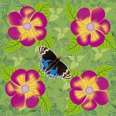 Flower And Butterfly Seamless Pattern.