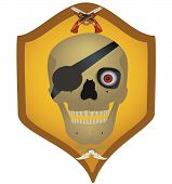 image of crossed pistols  - Skull with the crossed pistols and knifes raster illustration - JPG