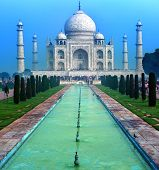 India, Taj Mahal. Indian palace Tajmahal world landmark.