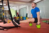 stock photo of kettlebell  - Crossfit fitness man L - JPG