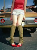 picture of leg warmer  - Young woman in leg warmers - JPG