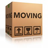 stock photo of packages  - moving box cardboard brown package with text relocation icon - JPG