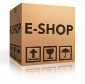 web e-shop icon online internet shopping concept cardboard box with text e-commerce