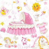 Seamless pattern of cribs, toys and stuff it's a girl