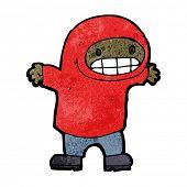 cartoon grinning boy in hooded sweatshirt