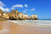 Praia da Tres Irmaos in Alvor in the Algarve Portugal