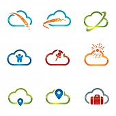 Set of shiny cloud icons related with cloud computing and networking