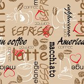 art seamless graffiti  pattern, coffee background in brown colors