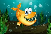 image of piranha  - Illustration of a yellow piranha near the seaweeds - JPG
