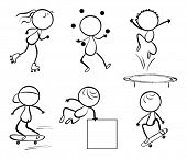 Illustration of the silhouettes of the different activities on a white background