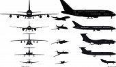 Set de siluetas de aviones de Vector