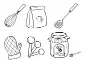 Illustration of a doodle set of kitchen utensils, baking powder and honey jam on a white background