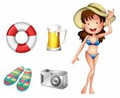 Illustration of a lifebuoy, pair of slippers, mug of beer, camera and a lady on a white background