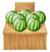 Illustration of a watermelon stand with an empty wooden signboard on a white background