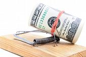 Dollar Banknotes Roll In Mousetrap