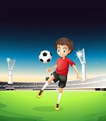 Illustration of a boy playing soccer alone