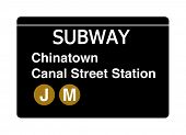 Chinatown Canal Street subway sign isolated on white, New York city, U.S.A.