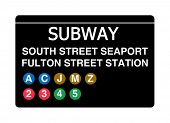 South Street Seaport Fulton Street Station subway sign isolated on white, New York city, U.S.A.