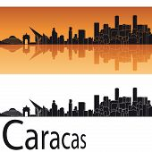 Caracas Skyline In Orange Background
