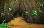 Ilustração de uma taberna grande dentro da floresta