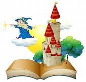 Illustration of a book with an image of a castle and a magician on a white background