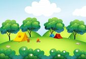 image of camper  - Illustration of the camping tents at the top of the hill - JPG