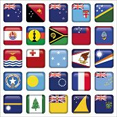 Set of Australian, Oceania Squared Flag Icons