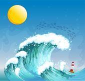 Ilustración de una onda grande con una torre