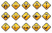 stock photo of oxidation  - Isolated vector orange Danger sign collection with black border - JPG