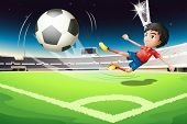 Illustration of a football player kicking a ball