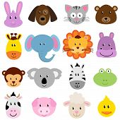 stock photo of cute animal face  - Vector Zoo Animal Faces Set  - JPG