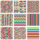 stock photo of chevron  - Vector Collection of Nine Bright Geometric Backgrounds - JPG