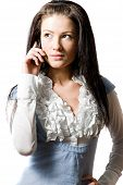 Young Brunette Woman Talking On The Cell-phone