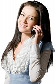 Happy Young Brunette Woman Talking On The Cell-phone