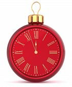 Happy New Year alarm clock bauble Christmas ball ornament decoration icon