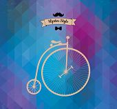 Hipster mono-cycle. Geometric Triangle background, vector illustration. Retro Hipster label design.