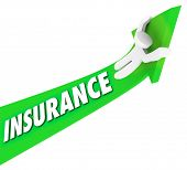 Insurance Word Arrow Rising Up Increasing Costs